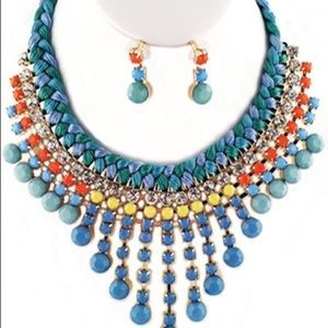 Turquoise Multiple Bib Beaded Necklace